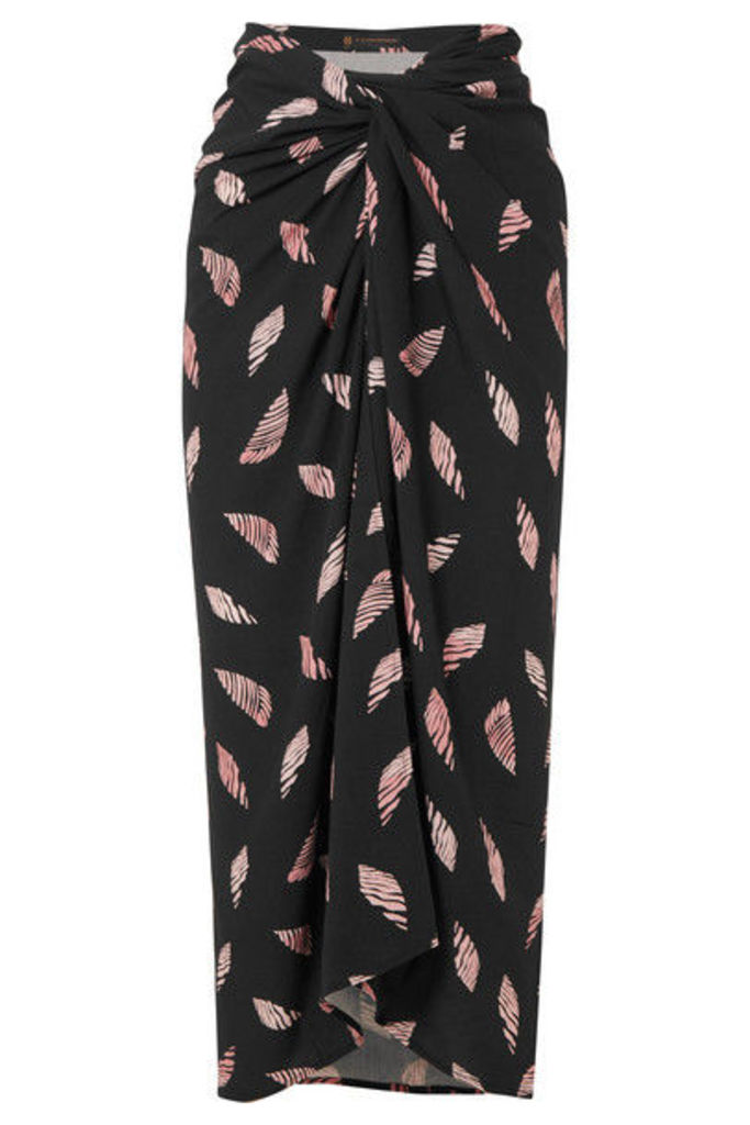ViX - Seychelles Lee Printed Voile Wrap Skirt - Black