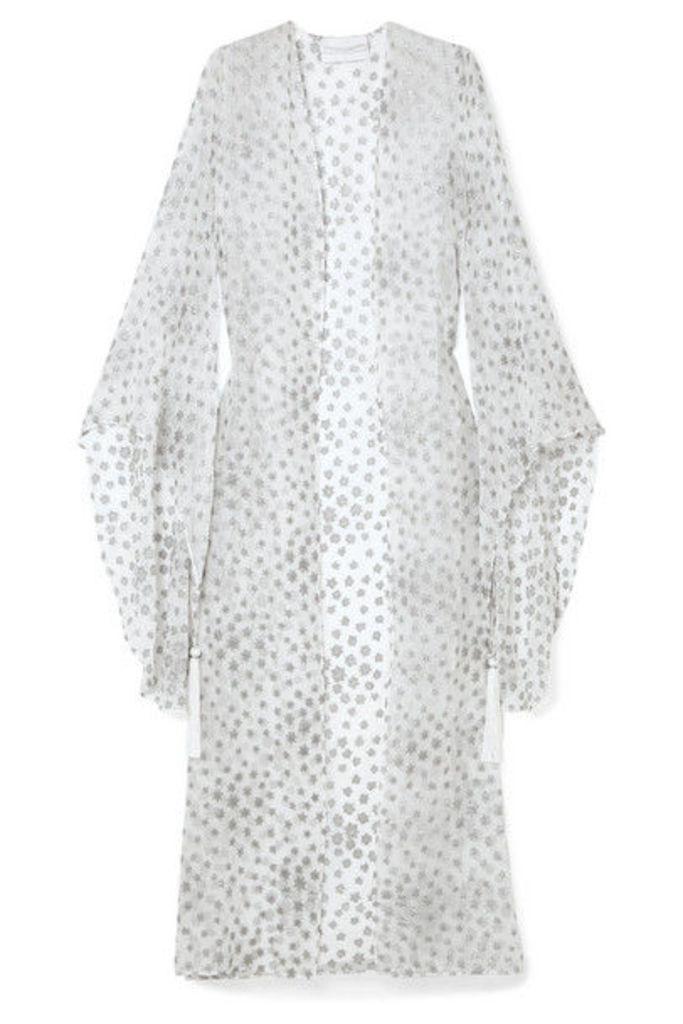 Marie France Van Damme - Tasseled Metallic Fil Coupé Silk-blend Chiffon Kimono - White