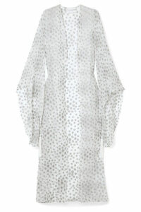 Marie France Van Damme - Tasseled Metallic Fil Coupé Silk-blend Chiffon Kimono - White