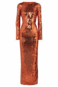 Galvan - Adela Open-back Sequined Satin Gown - Bronze