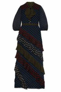 Alice + Olivia - Lessie Ruffled Polka-dot Silk Crepe De Chine Maxi Dress - Black