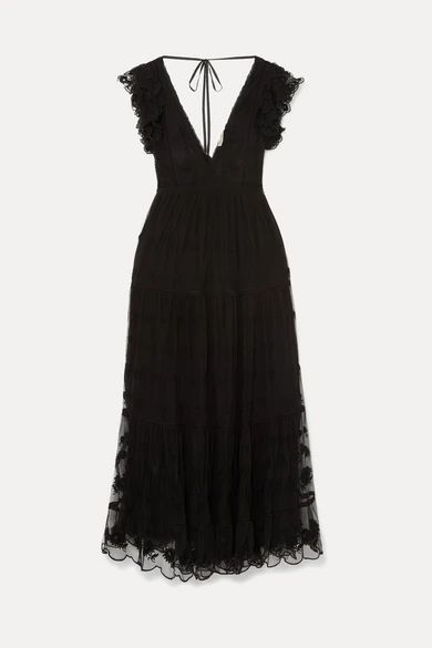 Ulla Johnson - Fifi Embroidered Tulle And Voile Maxi Dress - Black