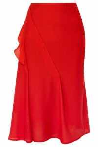 Victoria Beckham - Ruffled Silk Crepe De Chine Midi Skirt - Red