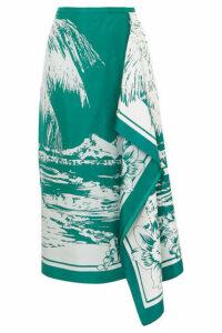 Tibi - Leilani Draped Printed Silk-twill Midi Skirt - Emerald