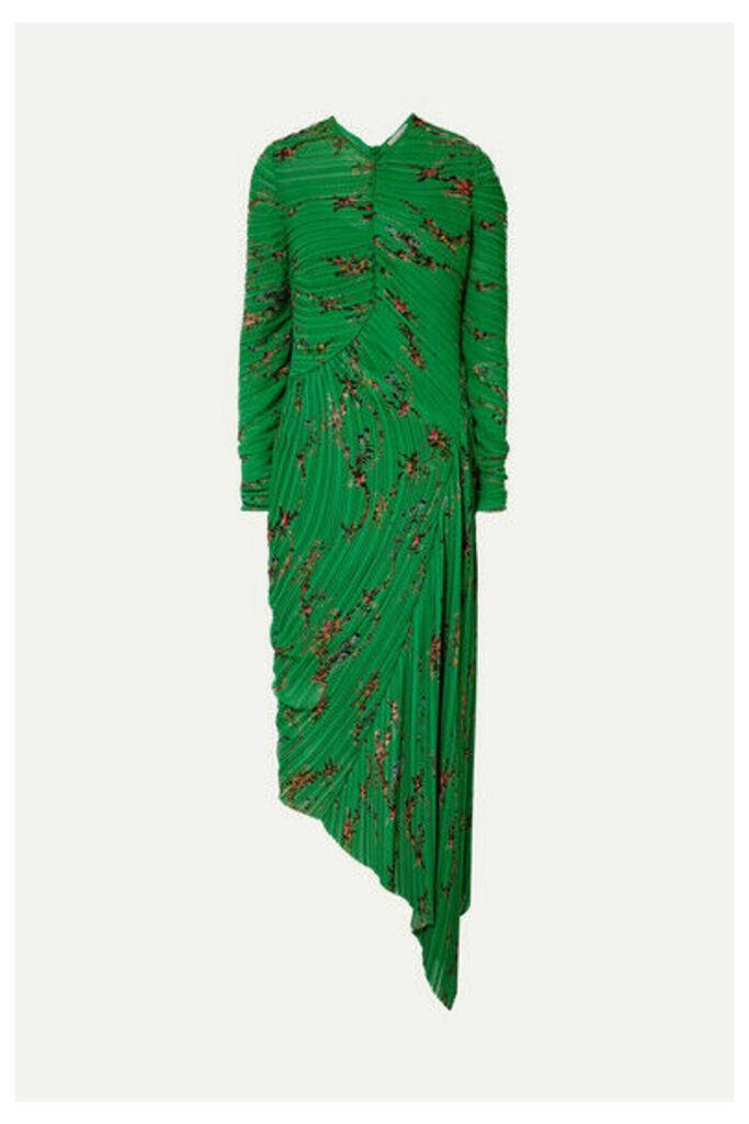 Preen by Thornton Bregazzi - Teresa Asymmetric Floral-print Plissé-georgette Midi Dress - Green
