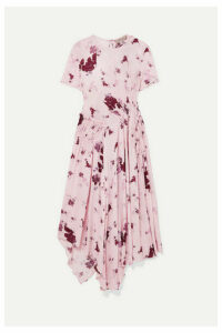Preen Line - Lois Asymmetric Shirred Floral-print Georgette Midi Dress - Pastel pink