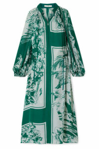 Tibi - Leilani Oversized Printed Silk Midi Dress - Emerald