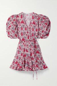 SEA - Emi Pleated Printed Voile Midi Dress - Purple