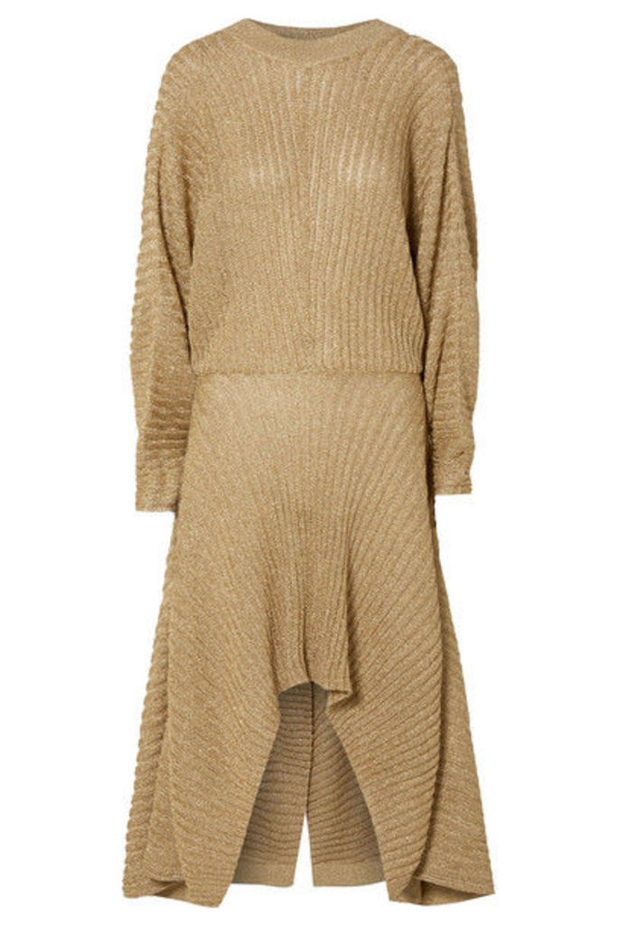 Chloé - Asymmetric Ribbed Lurex Midi Dress - Gold