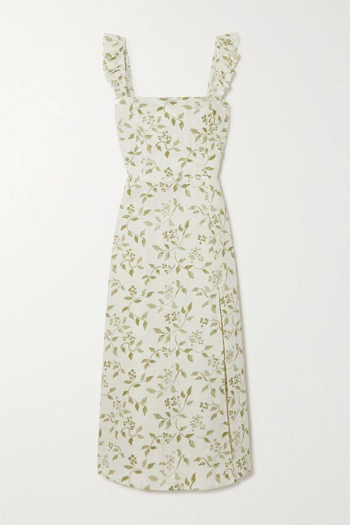 Mira Mikati - Tiered Striped Cotton-twill Midi Dress - Navy