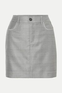 GANNI - Crystal-embellished Checked Silk And Wool-blend Mini Skirt - Light gray