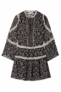 Ulla Johnson - Essie Ruffled Floral-print Fil Coupé Silk-blend Chiffon Mini Dress - Black