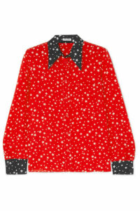 Miu Miu - Printed Silk Crepe De Chine Shirt - Red