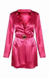 Hot Pink Satin Belted Blazer Dress, Hot Pink