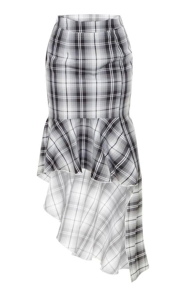 Petite Grey Check Frill Hem Midi Skirt, Grey