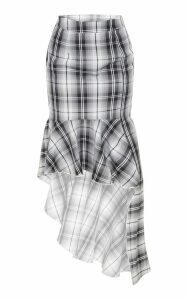 Petite Grey Check Frill Hem Midi Skirt, Grey