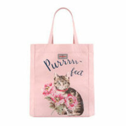 Cat and Flowers Lightweight Tote Bag