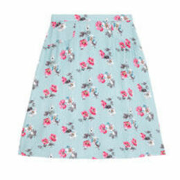 Cats and Flowers Viscose Twill Gathered Detail Skirt
