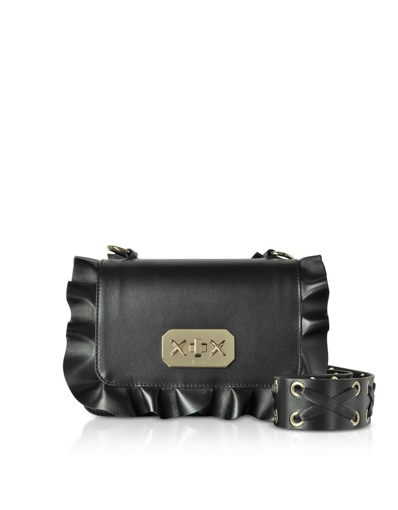 RED Valentino Designer Handbags, Black Studded Leather Ruffle Small Shoulder Bag