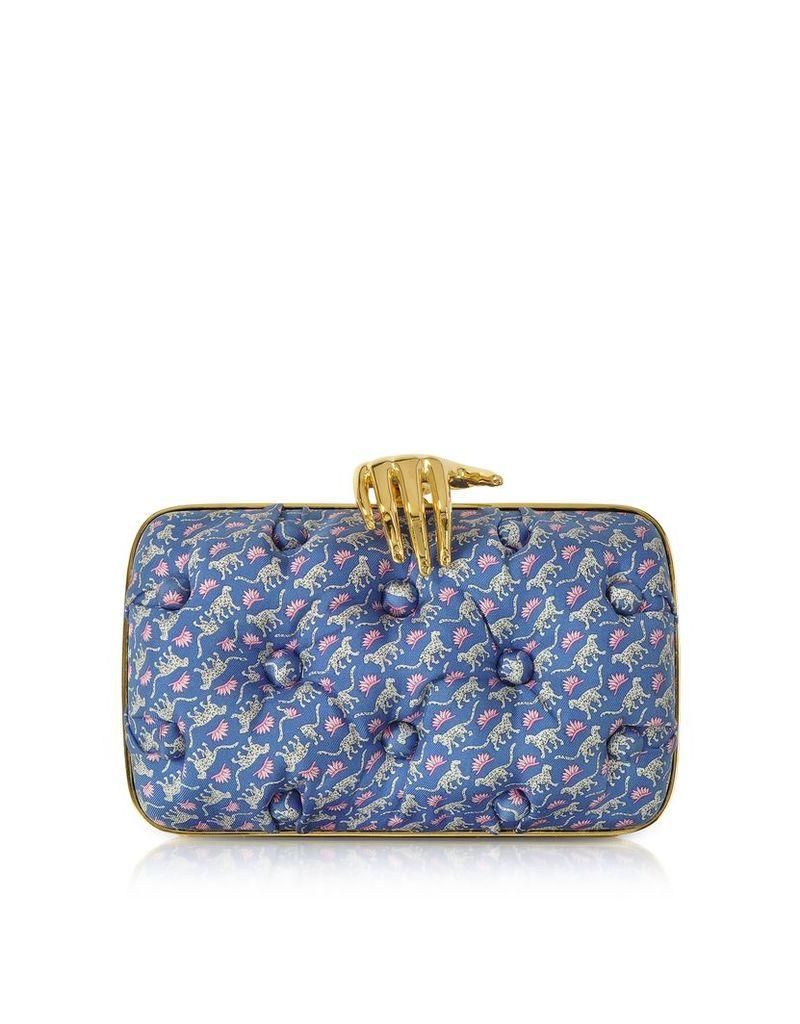 Benedetta Bruzziches Designer Handbags, Leopards Printed Blue Satin Silk Carmen Clutch w/ Golden Hand