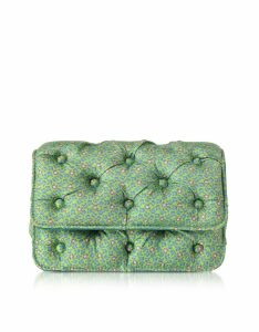 Benedetta Bruzziches Designer Handbags, Frogs Printed Green Satin Silk Carmen Shoulder Bag