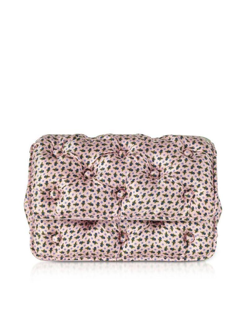 Benedetta Bruzziches Designer Handbags, Floral Printed Pink Satin Silk Carmen Shoulder Bag