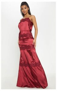 Burgundy Lace Trim Satin Tiered Maxi Dress, Red