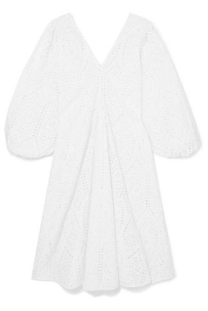 GANNI - Broderie Anglaise Cotton Midi Dress - White