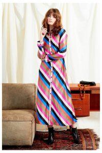 Womens Neon Rose Pink Sienna Stripe Satin Midi Shirt Dress -  Pink
