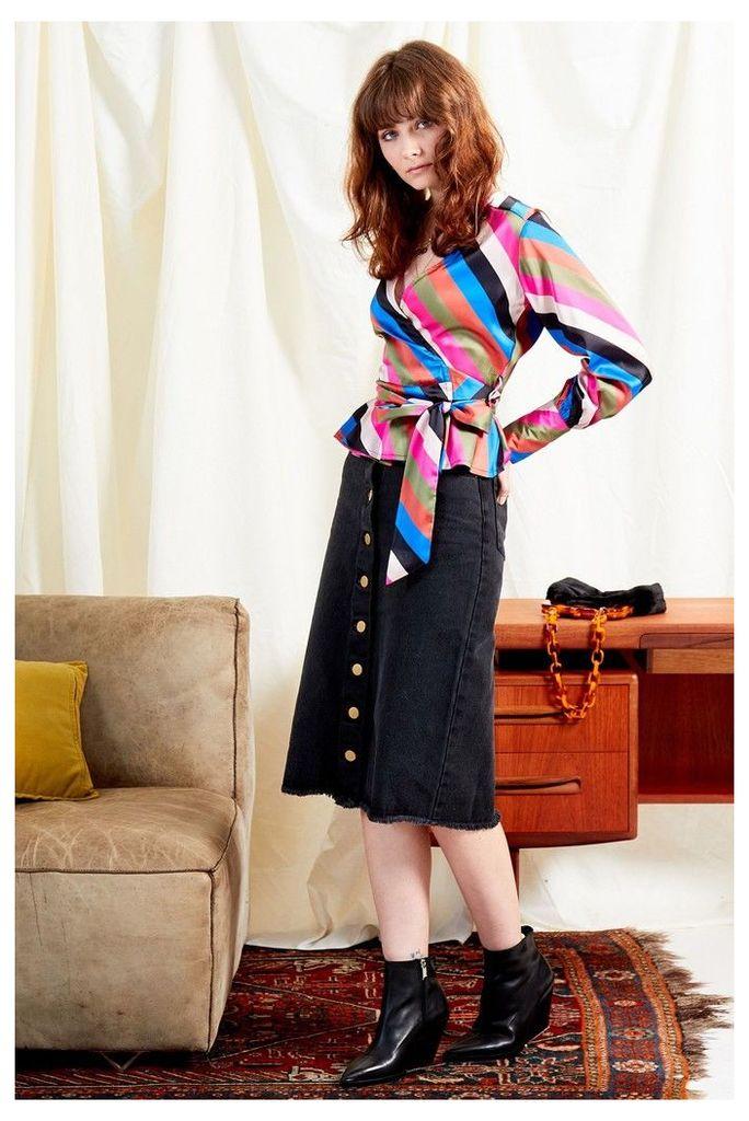 Womens Neon Rose Black Denim Button Front Midi Skirt -  Black