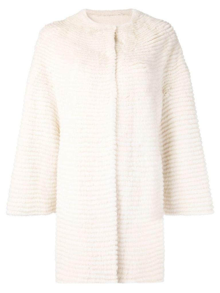 Liska collarless paneled coat - White
