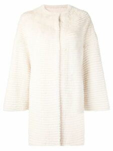 Liska collarless paneled coat - White