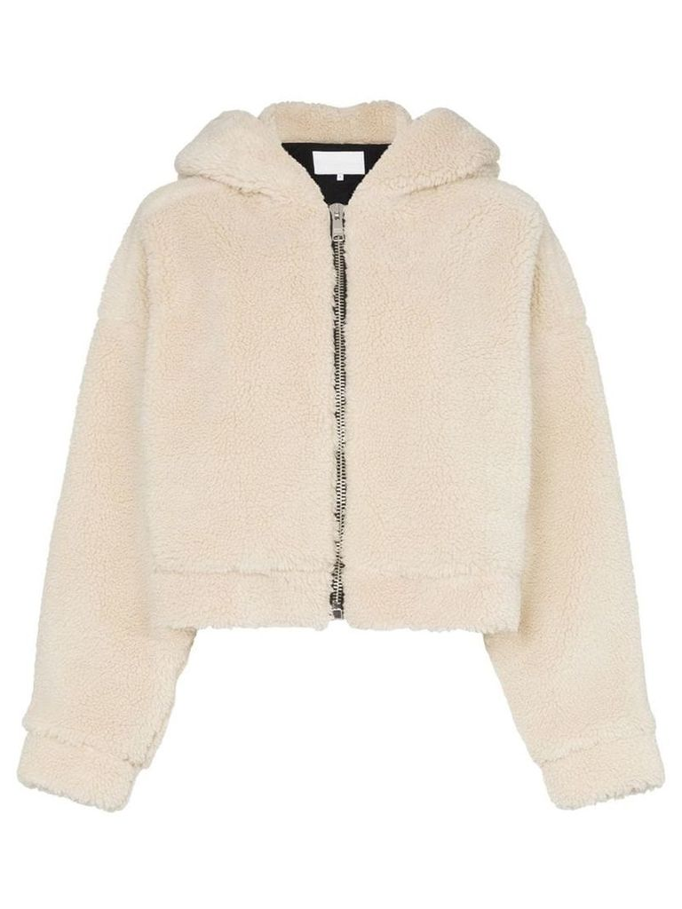 Re/Done faux fur hooded jacket with ears - Neutrals