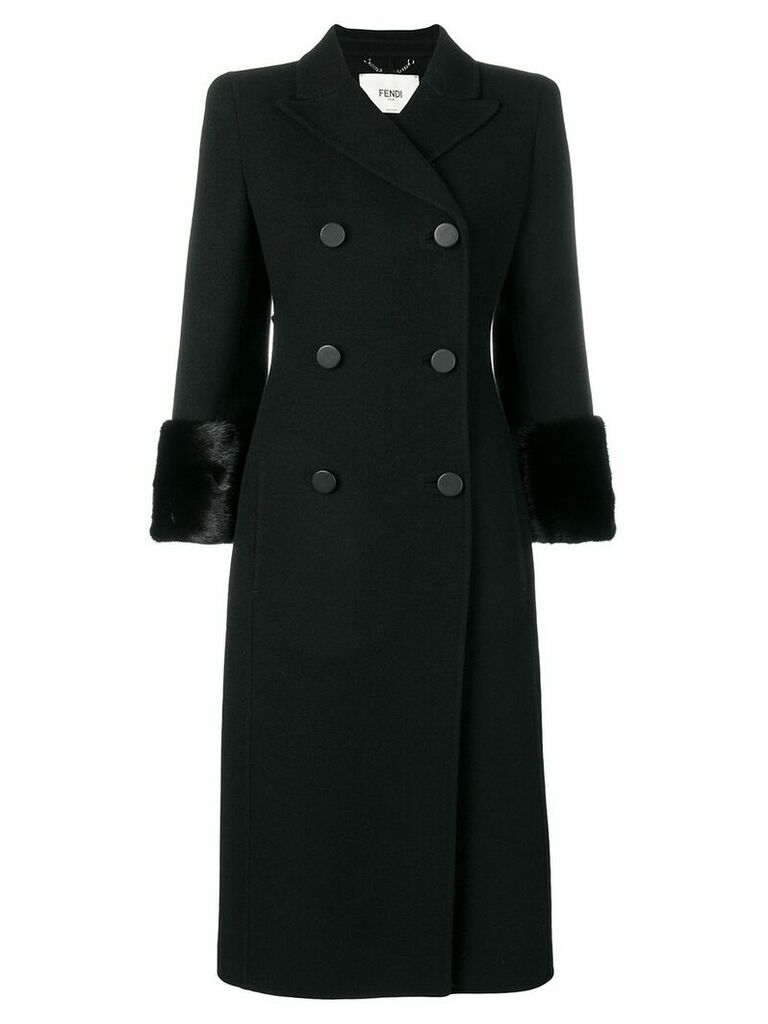 Fendi fur-trimmed double-breasted coat - Black