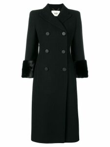 Fendi fur-trimmed double-breasted coat - Black
