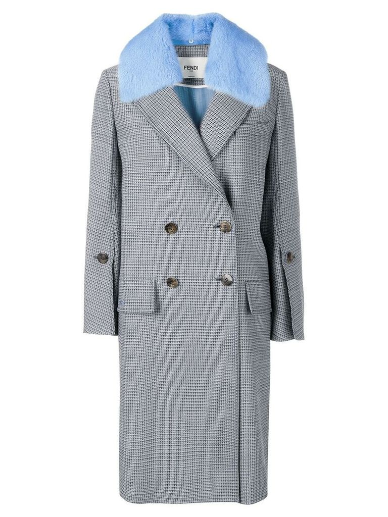 Fendi checked double breasted coat - Blue