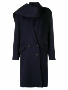 JW Anderson Navy Double Face Wool Scarf Coat - Blue