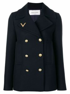 Valentino logo embroidered peacoat - Blue