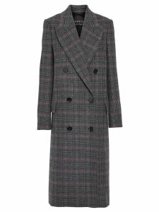 Burberry Prince of Wales Check Wool Tailored Coat - Grey