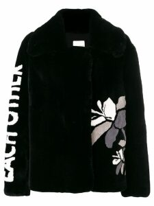 Each X Other text and flower print peacoat - Black