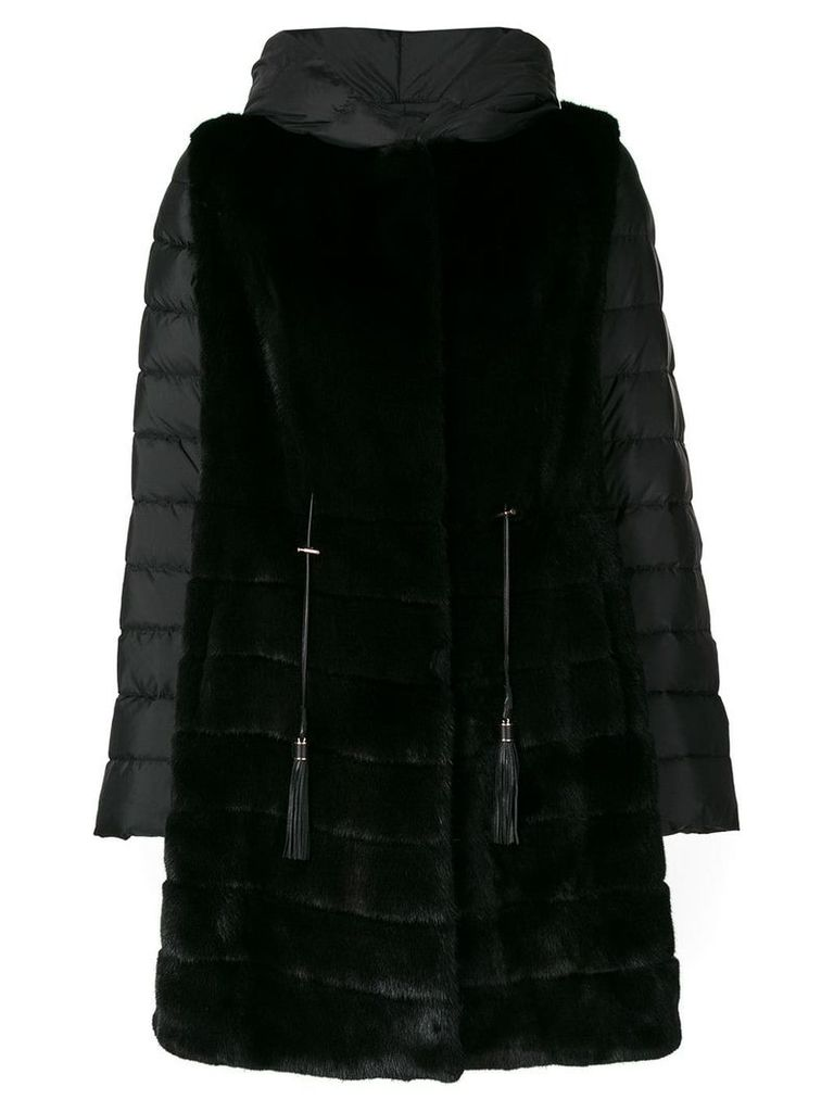 Liska fur trim coat - Black