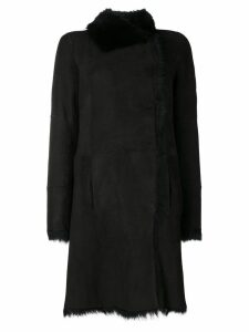 Joseph lamb fur trimmed coat - Black
