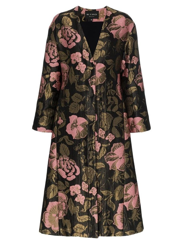 Etro long floral belted jacquard coat - Black