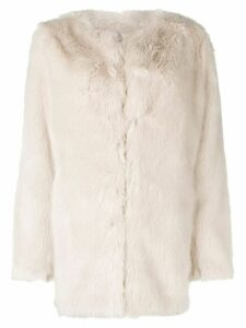 Helmut Lang oversized faux fur coat - White