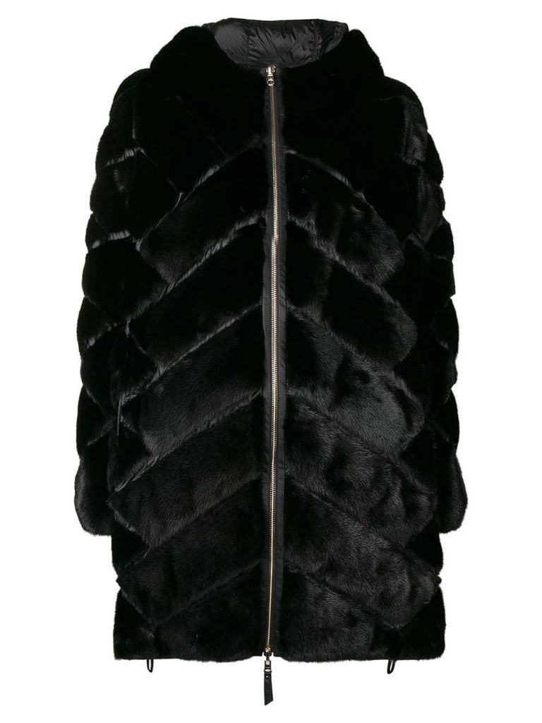 Liska chevron panel short coat - Black