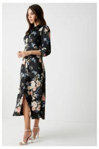 Womens Angeleye Long Sleeve Floral Shirt Dress -  Black