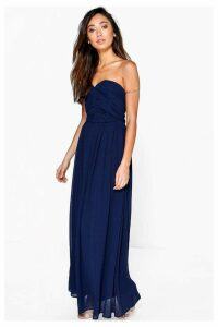 Womens Boohoo Petite Pleated Bandeau Maxi Dress -  Blue