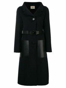 Fendi belted single-breasted coat - Black