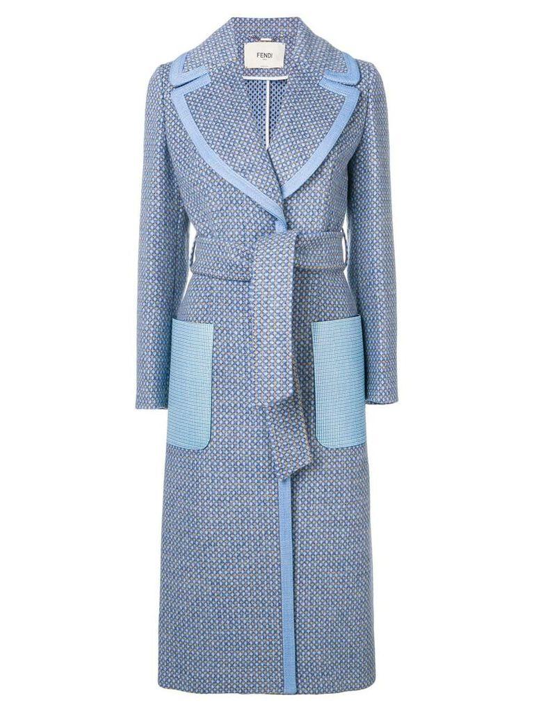 Fendi belted single-breasted coat - Blue