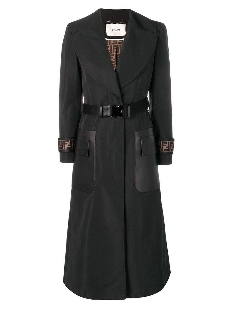 Fendi belted overcoat - Black